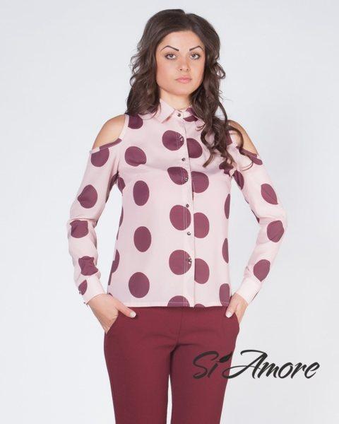 Дамска риза в розово на точки - Si Amore